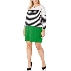 Joan Vass Striped Color Block Zipper Shift Dress